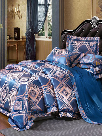 Blue Luxury 4 Piece Silk/Cotton Blend Jacquard Bedding Set