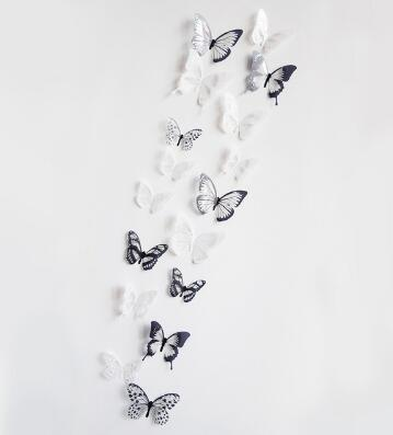 18pcs/lot 3d crystal Butterfly Wall Art Mural Stickers