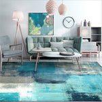 Modern Abstract Art Watercolor Blue Gray Area Rug