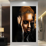 Black And Gold Oil Painting Modern Girl Portrait Canvas