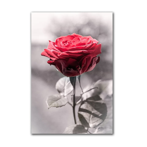 Nordic Red Rose Canvas Painting