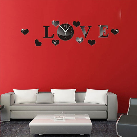 Creative 3D Mirror Wall Clock LOVE Decal
