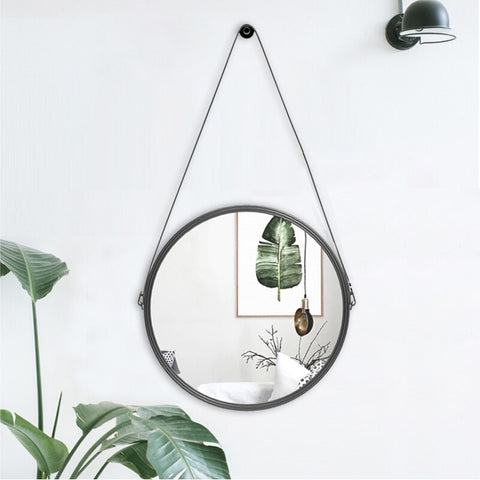 Leather Round Wall Mirror with Hanging Strap Including Hook/Hanger