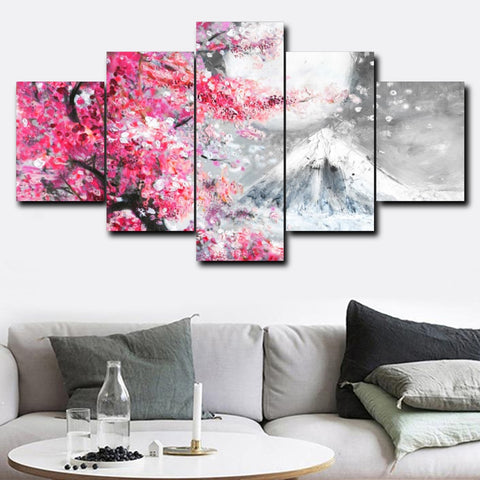 5 Panel Watercolor Pink Cherry Garden Canvas
