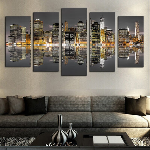 5 Panels Modern City Views Canvas