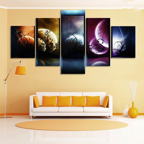 5 Panel Five Colors Of The Planet Canvas