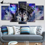 5 panel Wolf King Canvas