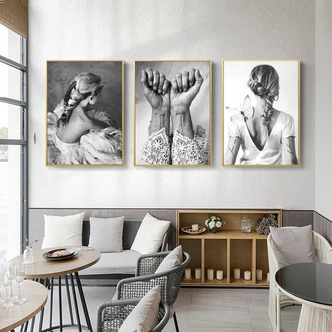 Black And White Vintage Canvas Painting