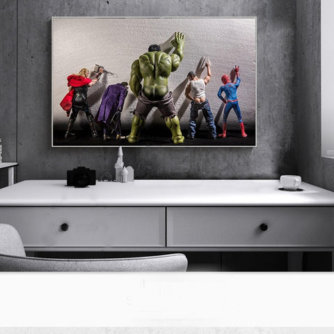Avengers Superheros in Toilet Wall Art Canvas Painting