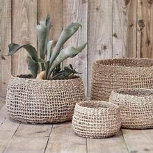 seagrass handwoven baskets in neutral