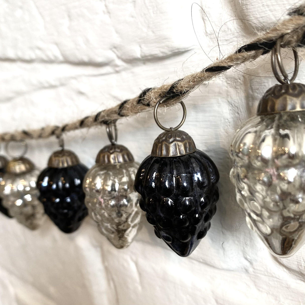 25% OFF - Narnia Bauble Garland - Antiqued Silver & Black