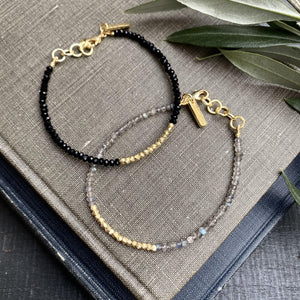 Labradorite & Gold Beaded Bracelet