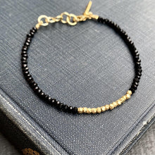 Load image into Gallery viewer, Black Onyx & Gold Beaded Bracelet