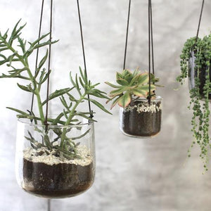 Recycled Glass Hanging Planter - Small