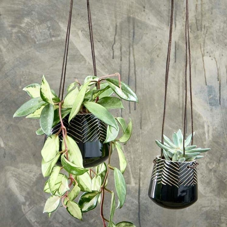 Kavara Ceramic Hanging Planter - BLACK