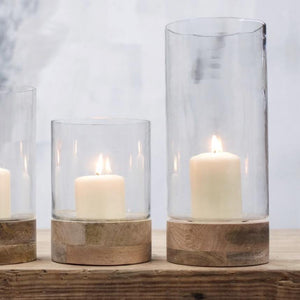 Mango Wood Hurricane Lamp - MEDIUM
