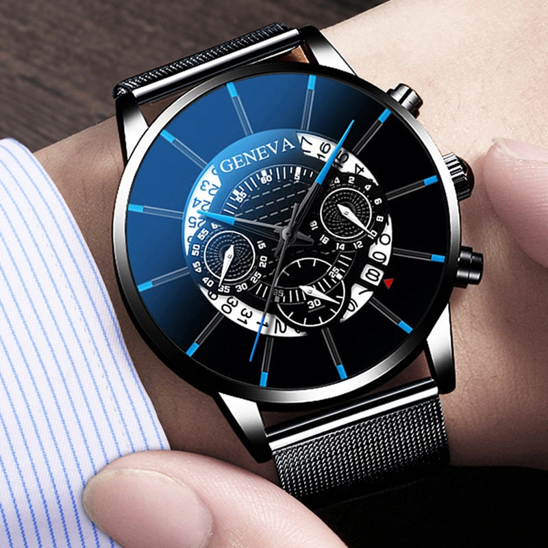 GENEVA : Business Calendar Men WristWatch
