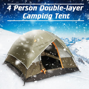3-4 Person Windbreak Camping Tent Dual Layer Waterproof