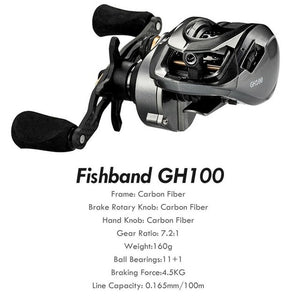 Fishband Reel GH100 GH150 7.2:1 Carp Bait Cast Casting Fishing Reel
