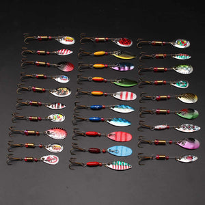 Mixed Colors 30PCS Metal Spinner Fishing Lures Set