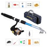Fishing Rod and Reel Rod Combo kit de pesca W/ Portable Fishing Storage Bag olta takimlari Spinning Reel Gear Pole Set Line Lure