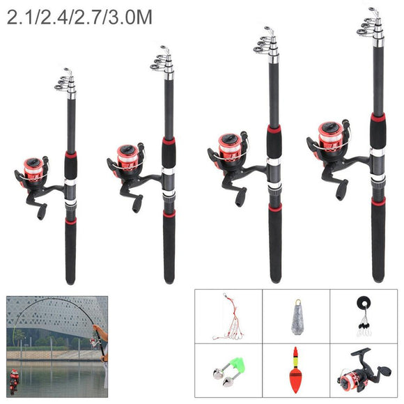 2.1-3m glass fiber Telescopic Spinning Fishing Rod and Reel set Combos Full Kit Fishing Gear Fishing accessories Fish hook