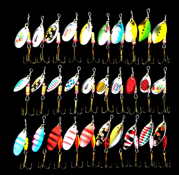 Lot 30pcs  Set multi-color fishing lure spoon bait