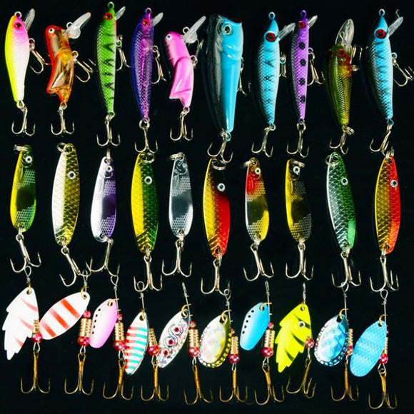 Free shipping 30pcs/lot Mixed Colo Fishing Lure Set
