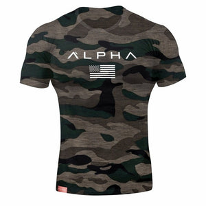 2019 Men Camouflage Sport Training Cotton T-shirt Short Sleeve