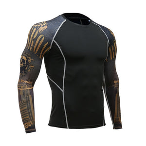 Wolf 3D Printed T-shirt Compression Tights Men Fitness