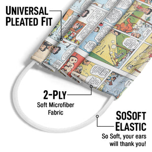 Betty Boop Comic Pattern Adult Universal Pleated Fit, 2-Ply, SoSoft Elastic Earloops
