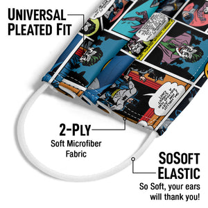 Load image into Gallery viewer, Batman Comic Pattern Adult Universal Pleated Fit, 2-Ply, SoSoft Elastic Earloops