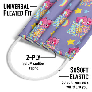Care Bears: Unlock the Magic All the Feels Pattern Adult Universal Pleated Fit, 2-Ply, SoSoft Elastic Earloops
