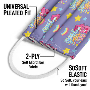 Care Bears: Unlock the Magic All the Feels Pattern Kids Universal Pleated Fit, 2-Ply, SoSoft Elastic Earloops