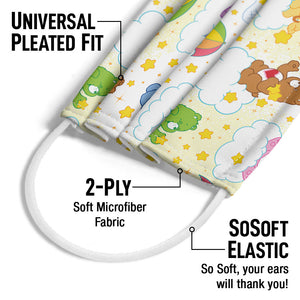 Care Bears Cloud Pattern Adult Universal Pleated Fit, 2-Ply, SoSoft Elastic Earloops
