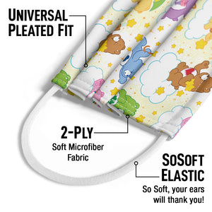 Care Bears Cloud Pattern Kids Universal Pleated Fit, 2-Ply, SoSoft Elastic Earloops