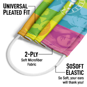 Beverly Hills 90210 Color Blocks Adult Universal Pleated Fit, 2-Ply, SoSoft Elastic Earloops