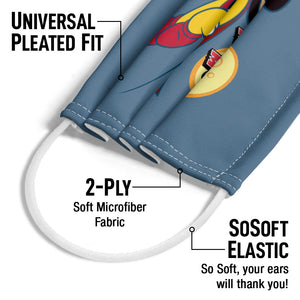 Mighty Mouse to the Sky Adult Universal Pleated Fit, 2-Ply, SoSoft Elastic Earloops