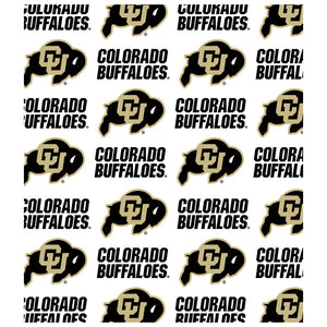 University of Colorado Logo Repeat - CU Buffaloes Away Kids Mask Design Full View