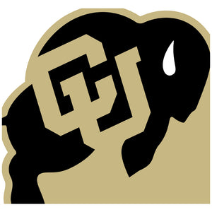 Load image into Gallery viewer, University of Colorado Buffs Logo Lockup - White Adult Mask Design Full View