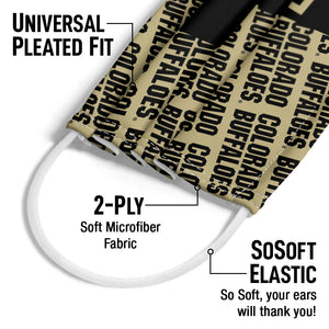 University of Colorado Buffs Split Pattern Adult Universal Pleated Fit, 2-Ply, SoSoft Elastic Earloops