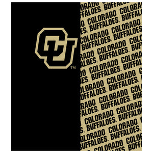 Load image into Gallery viewer, University of Colorado Buffs Split Pattern Kids Mask Design Full View