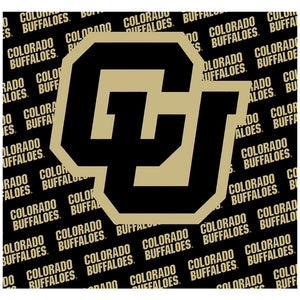 University of Colorado Buffs Logo Repeat - Black Adult Mask Design Full View