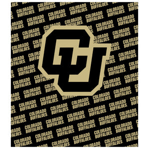 University of Colorado Buffs Logo Repeat - Black Kids Mask Design Full View