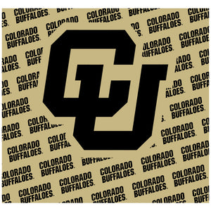 University of Colorado Buffs Logo Repeat - Gold Adult Mask Design Full View