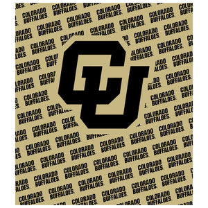 University of Colorado Buffs Logo Repeat - Gold Kids Mask Design Full View