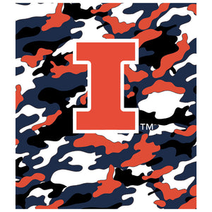 Load image into Gallery viewer, University of Illinois Fighting Illini Camo Kids Mask Design Full View
