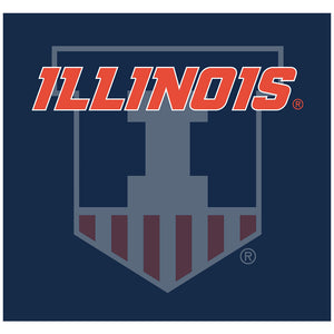 Load image into Gallery viewer, University of Illinois Badge - Fighting Illini Blue Adult Mask Design Full View