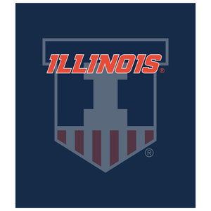 Load image into Gallery viewer, University of Illinois Badge - Fighting Illini Blue Kids Mask Design Full View
