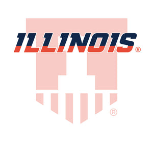 University of Illinois Badge - Fighting Illini White Adult Mask Design Full View